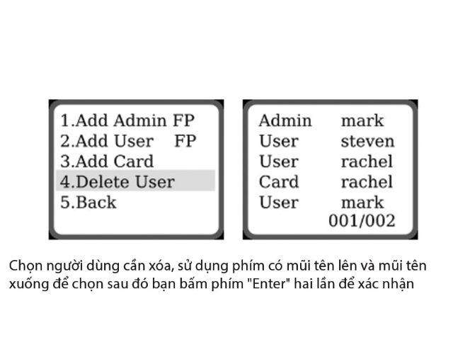 Hướng dẫn xóa người dùng trên khóa điện tử